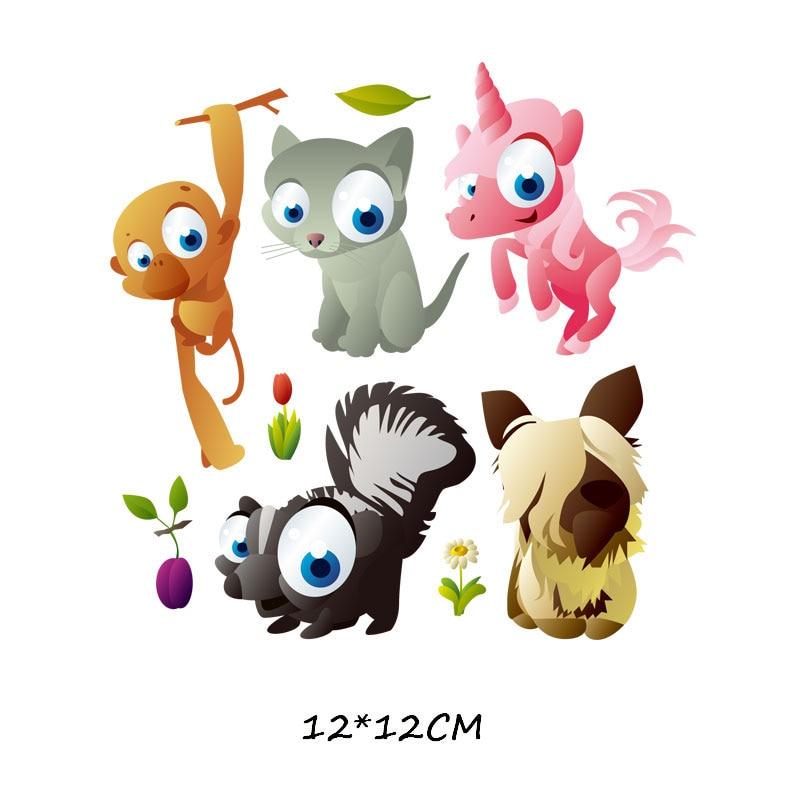 Набор патчей с изображением животных из мультфильмов, милые патчи с изображением единорога, кошки, совы, собаки, цветов для детей, одежда для девочек, футболка, сделай сам, термопресс - Цвет: 750