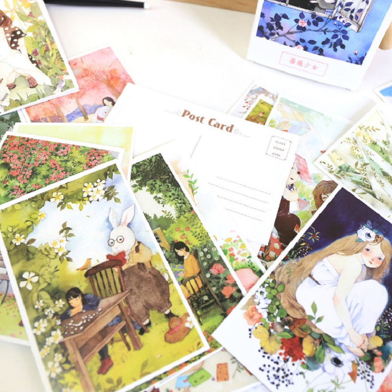 30pcs yong girl in fairy tale design card multi-use as Scrapbooking party invitation DIY gift card message card postcard
