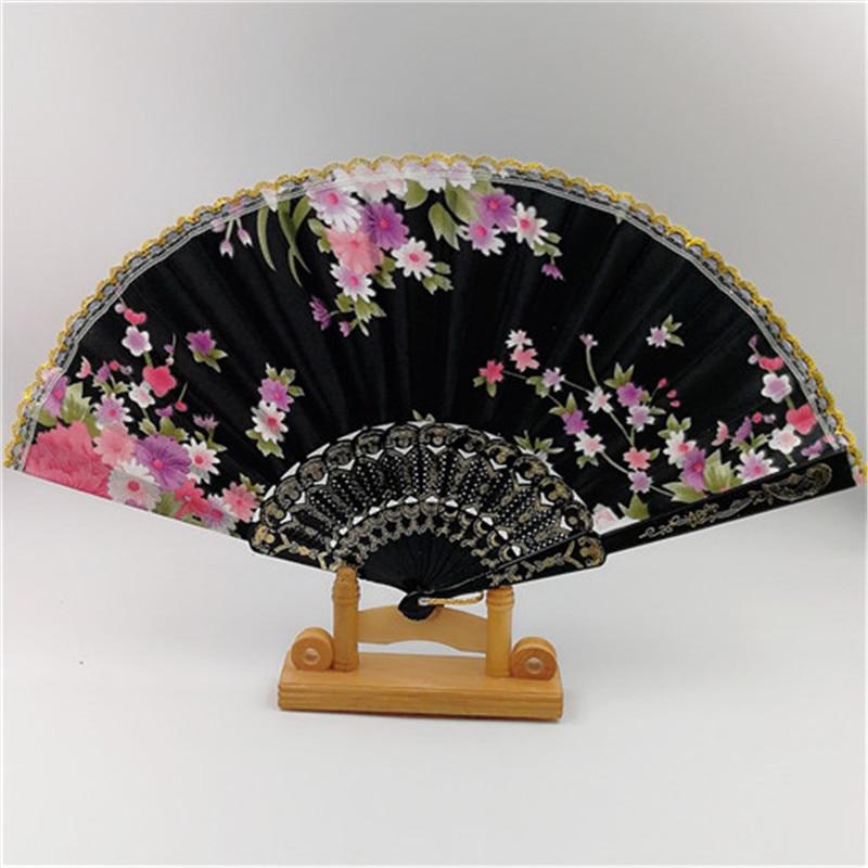 2017 New Chinese Japanese Vintage Fancy Folding Fan Hand Plastic Lace Silk Flower Dance Fans