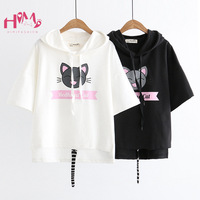 Summer Japanese Cute Animal Print T Shirts Womens Mori Girl Novelty Cat Short Sleeve Tops Harajuku Kawaii Graphic Black Tees