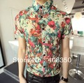 Prima hombres Branded Vintage a la moda Retro Colorful Flowers Floral Slim Fit Shirt Designer casual, vestuario teatral Shirt M / L / XL / 2XL