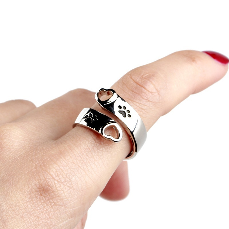 Women Jewelry Stainless Steel I will love you forever Paw Print Heart Charm Ring Pet Dog and Cat Lover Memorial Rings