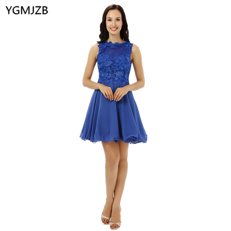 Elegant Blue   Cocktail     Dress   2018 A Line Lace Sleeveless Short Prom   Dresses   Evening Party   Dress   Plus Size