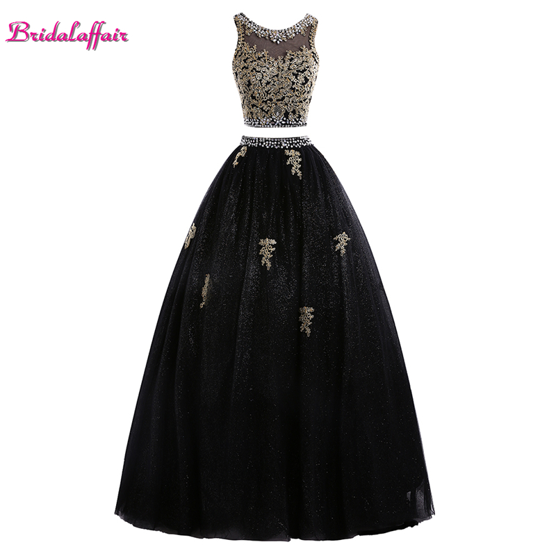 Custom Two Piece Evening Dress Black Appliques Lace Prom Gown 2019 O Neck Crystal Ball Gown