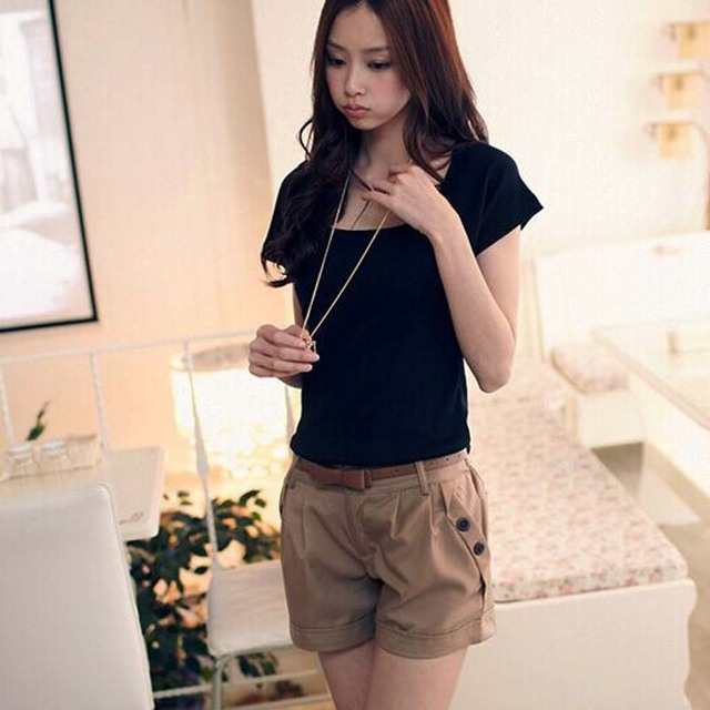 Fashionable Women England Style Summer Shorts Without Belt