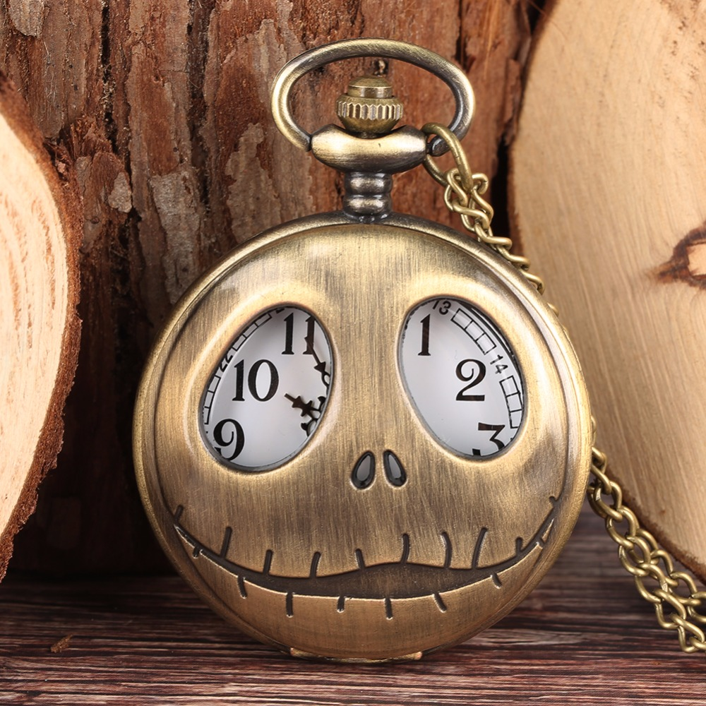 New Fashion Tim Burton The Nightmare Before Christmas Quartz Pocket Watch Retro Frog Big Eyes Jack Skellington Necklace Pendant