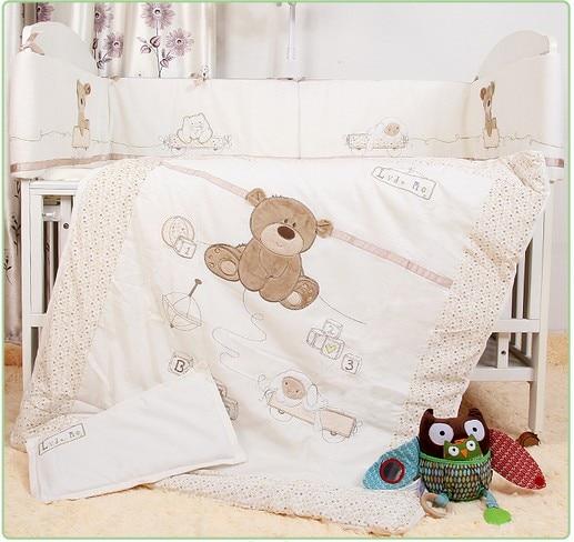 Promotion! 7PCS Baby Bedding Set Newborn Infant Cartoon Crib Bedding Kit Detachable,(bumpers+duvet+sheet+pillow)