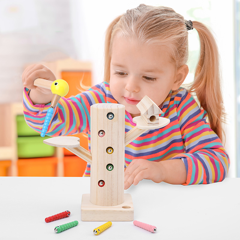 Baby Wooden Toys 3D Puzzle Magnetic Caterpillar Catch Worm Game Fishing Toys Math Early Childhood Educational Toys For Children image