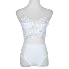 Women Lace Briefs Underwear Set Club Nightwear Lingerie White