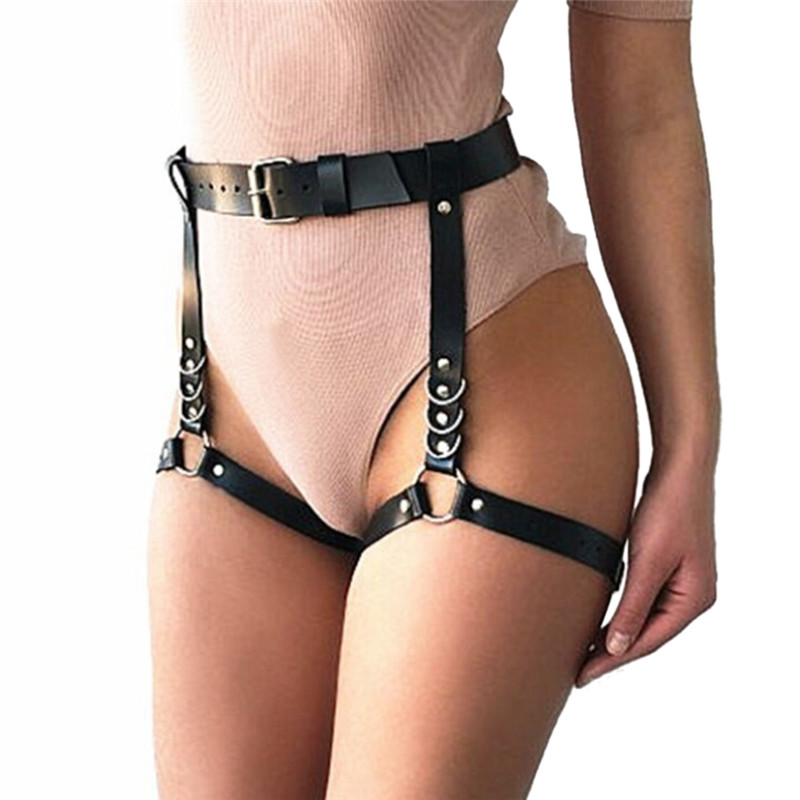 Fashion sexy women leather Waist Garter   belt   for Stockings Handmade Punk Costume Outfit O-Round Waist   Belts