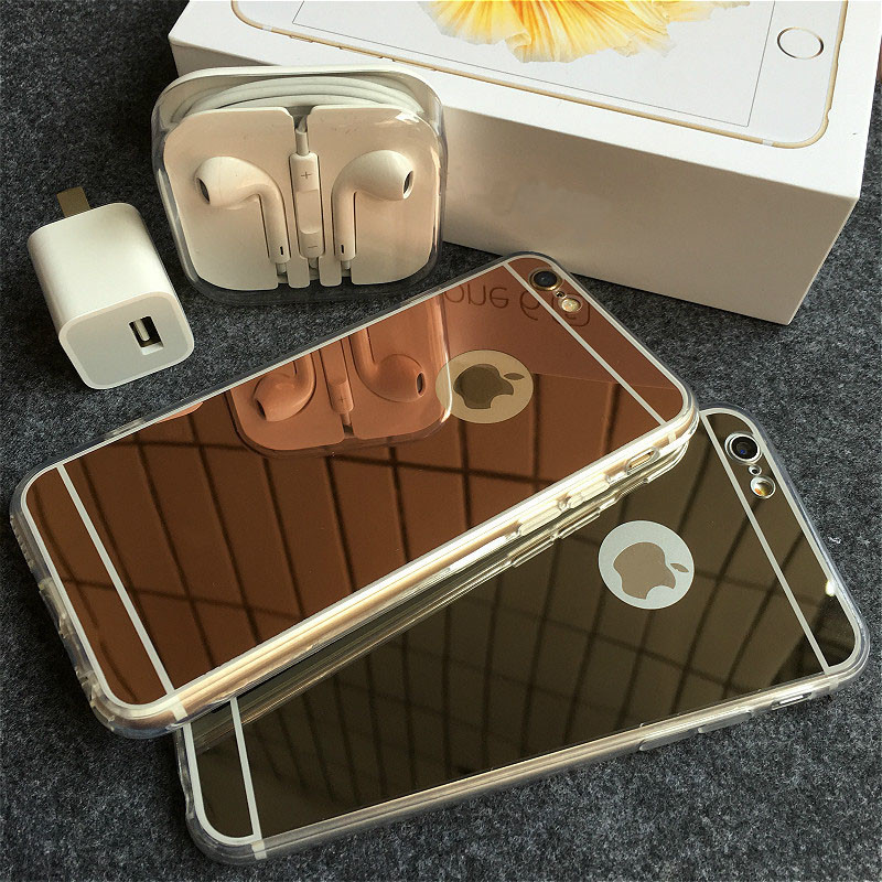 CRorange Rose gold Luxury Mirror Flash Fashion Case For iPhone 7 6 6S Plus 5s SE Soft Clear TPU Cover For iPhone 6 7 6S 5S