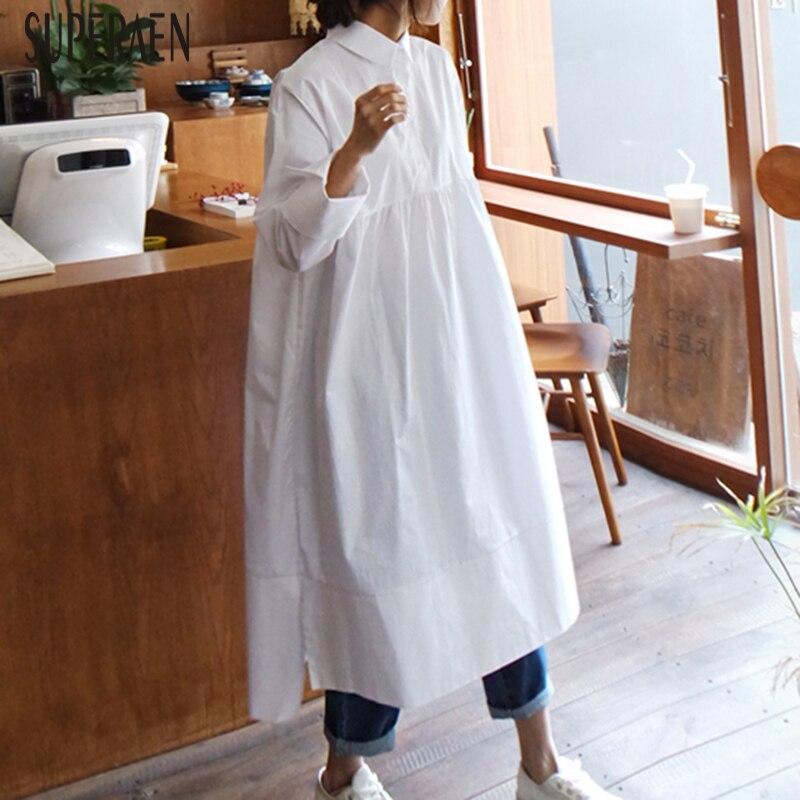 SuperAen mode chemise robe femme printemps et automne nouveau Style coréen 2019 femmes robe lâche décontracté Pluz taille femmes vêtements