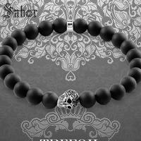 jewellery Bracelet Men Strand with Skull 8mm Obsidian Beads New Blackened Silver Fashion Jewelry Gift Men Boy Women Girls female