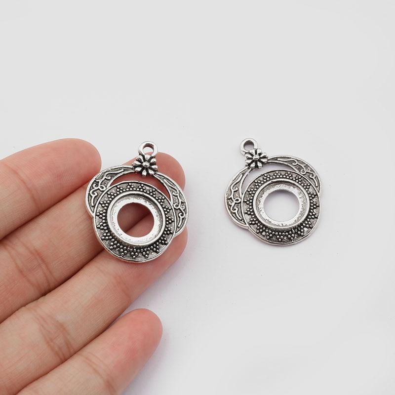 10 argent antique 25 mm Cabochon Connecteur Plateau paramètres pour fabrication de bijoux