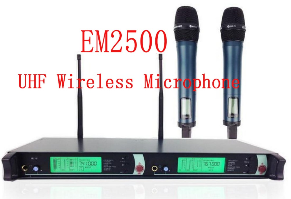 Professional EM2500 SKM100G3 EM2052 True Diversity UHF/PLL Wireless Microphone System with Dual e835 Handheld Transmitter Mic  top quality professional true diversity single handheld wireless mic microfone uhf wireless microphone system perfect for stage