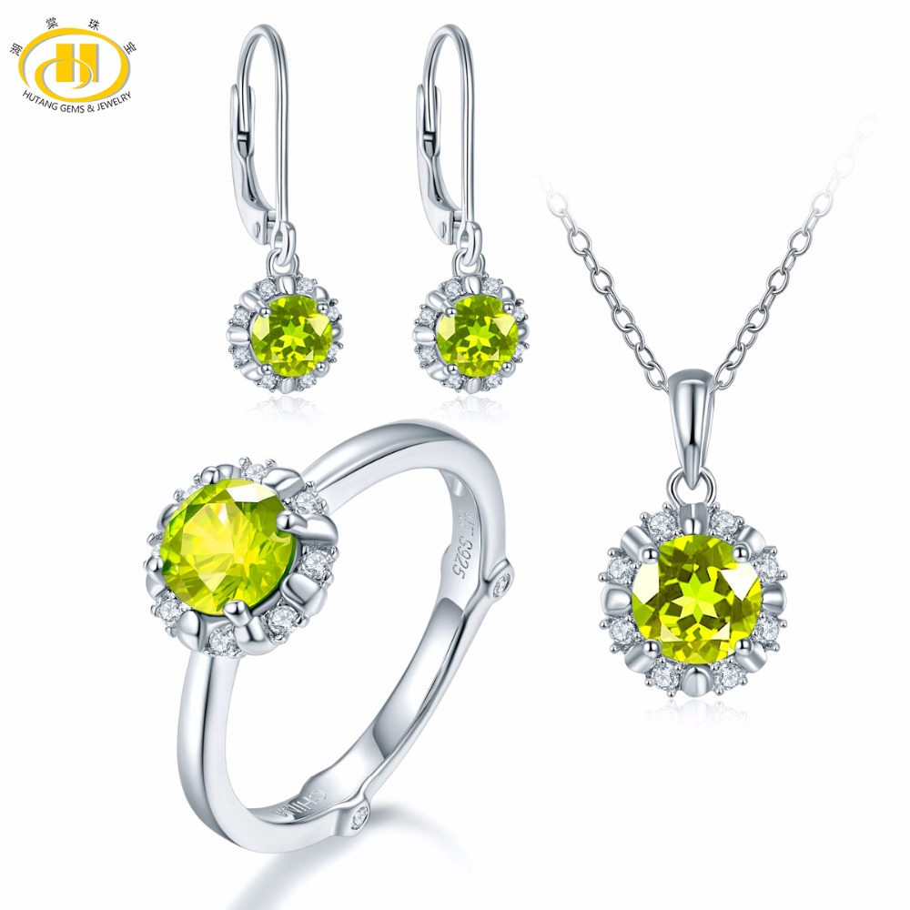 Hutang Natural August Birthstone Peridot Solid 925 Sterling Silver Ring Pendant Earrings Gemstone Jewelry Sets Presents GiftHutang Natural August Birthstone Peridot Solid 925 Sterling Silver Ring Pendant Earrings Gemstone Jewelry Sets Presents Gift