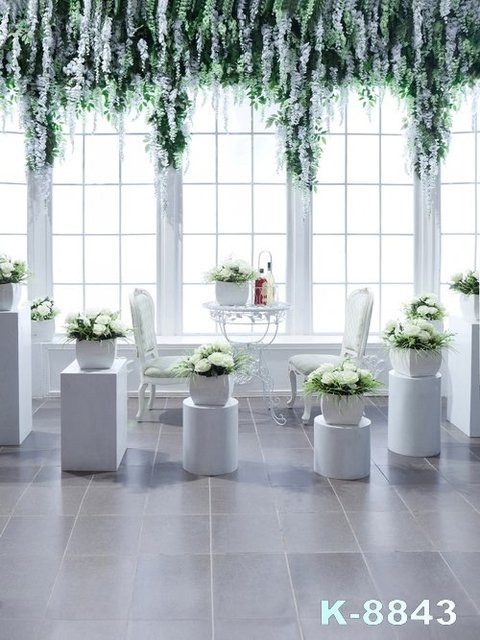 French Window Indoor Wedding Backdrop Photography Cloth Children Green  Screen Decor Solid Color Backgrounds Support Stand