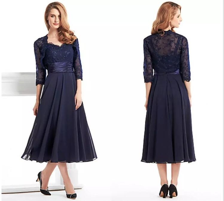 Navy Blue Lace Plus Vestido Novia Women Evening Groom Formal Gown Tea Length 2018 Mother Of The Bride Dresses With Jacket