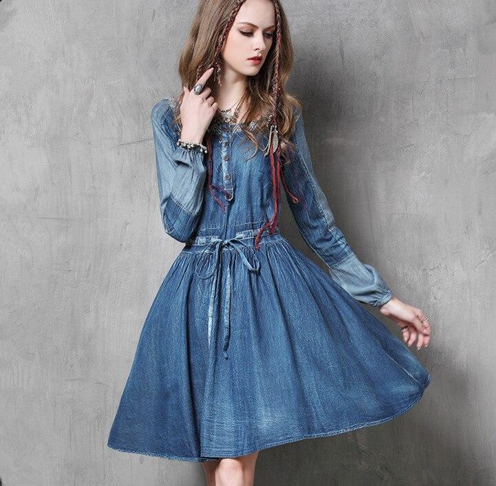 Jeans robe femmes 2017 Vintage nouvelle robe en Denim à manches longues col carré cordon taille coton Vestidos Femininos A6550