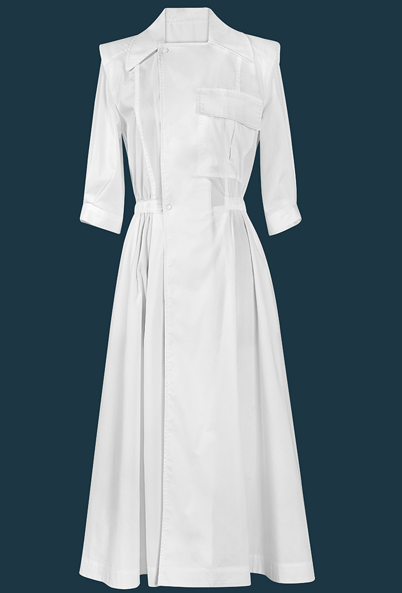 Simple Design Brand New 2019 Summer Dresses Notched Neck Short Sleeve Single breasted White Dresses Casual