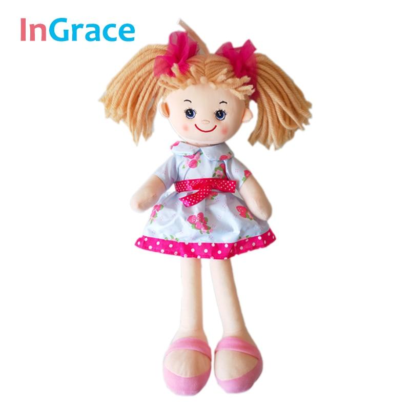 InGrace brand cute lifelike girls dolls hadiah hadiah hari jadi kanak-kanak perempuan anak patung 40cm mainan buatan tangan untuk kanak-kanak perempuan dengan headwear merah