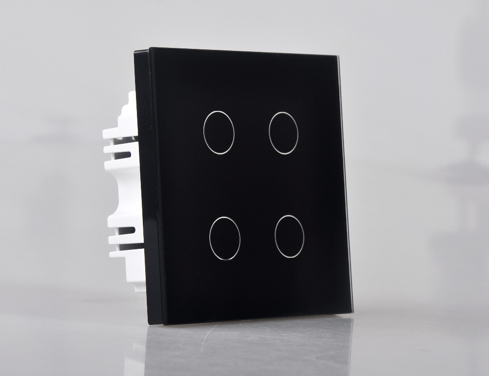 Smart Home 4 Gang 1 Way Wall Touch Switch Wallpad Luxury Crystal Glass Panel UK Switch Touch Interrupteur White/Black Hot Sale free shipping smart home us au standard wall light touch switch ac220v ac110v 1gang 1way white crystal glass panel