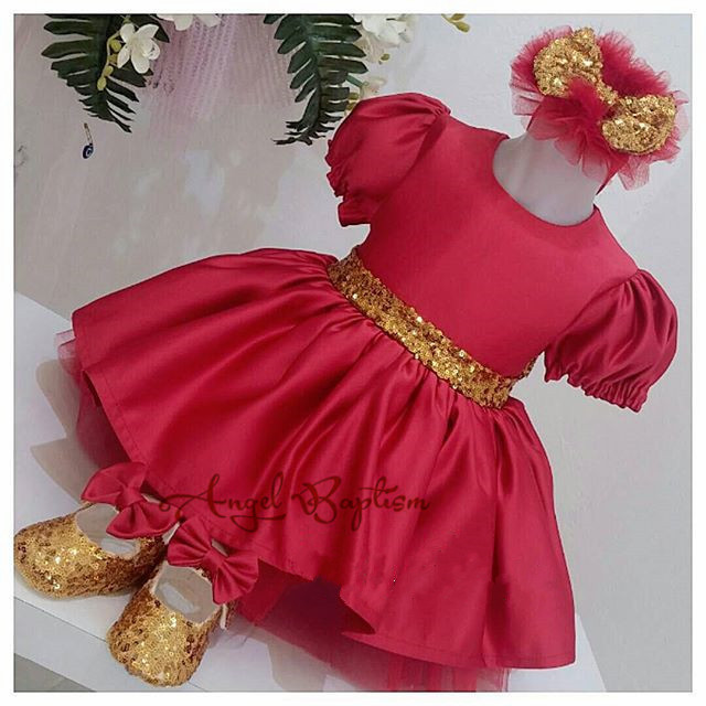 Red stain Halloween/Easter costume short sleeve with gold sparkly sequin bow toddler pageant 1st birthday party baby outfits