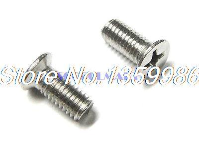 100Pcs SUS304 Flat Head Drive Cross Sunk Metric Thread Screw M6X18mm