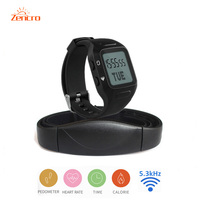 Body Fit Heart Rate Monitor Chest Strap Bracelet Pedometer Digital Sports Watch