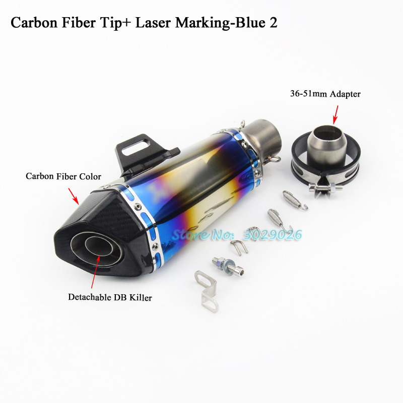 Inlet 51mm Universal Escape For Most Motocycle Exhaust Muffler Pipe R25 R30 Z250 ZX6R ZX10R Carbon Fiber DB killer Laser Marking