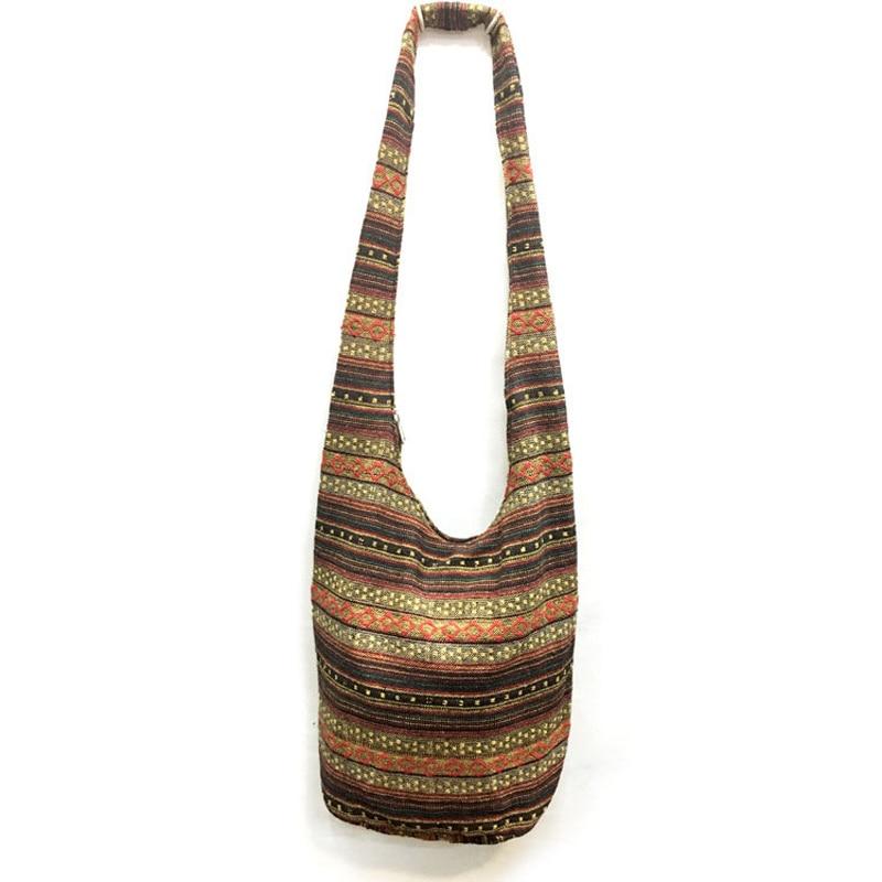 Hippie Crossbody Bag Thai Top Zip Hobo Sling Bag Handmade Hipster Messenger Bag 1