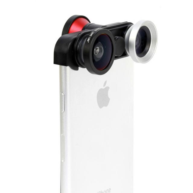 """4-en-1 360 giratoria de gran angular + macro + frente sefie cámara lente ojo de pez kit para iphone 6/6 s plus 5.5 """"pulgadas Lente de Teléfono Móvil Libre"""