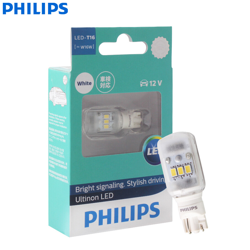 Philips Ultinon LED T16 W16W 12V 11067ULWX1 6000K Cool White Turn Signal Lamps Interior Light Reverse Bulbs (Single)