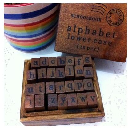 28pcs Vintage DIY Number And Alphabet Letter Wood Rubber Stamps Set With Wooden Box For Teaching Play