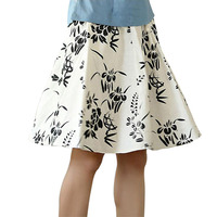Print Floral Chinese Style Women Skirt Knee Length Casual Pleated Skirt Spring Summer Classi Lady Flare