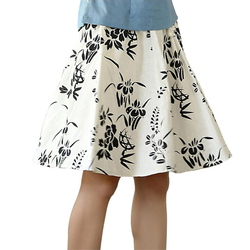 Print Floral Chinese Style Women Skirt Knee Length Casual Pleated Skirt Spring Summer Classi Lady Flare Skirt Hot Sale