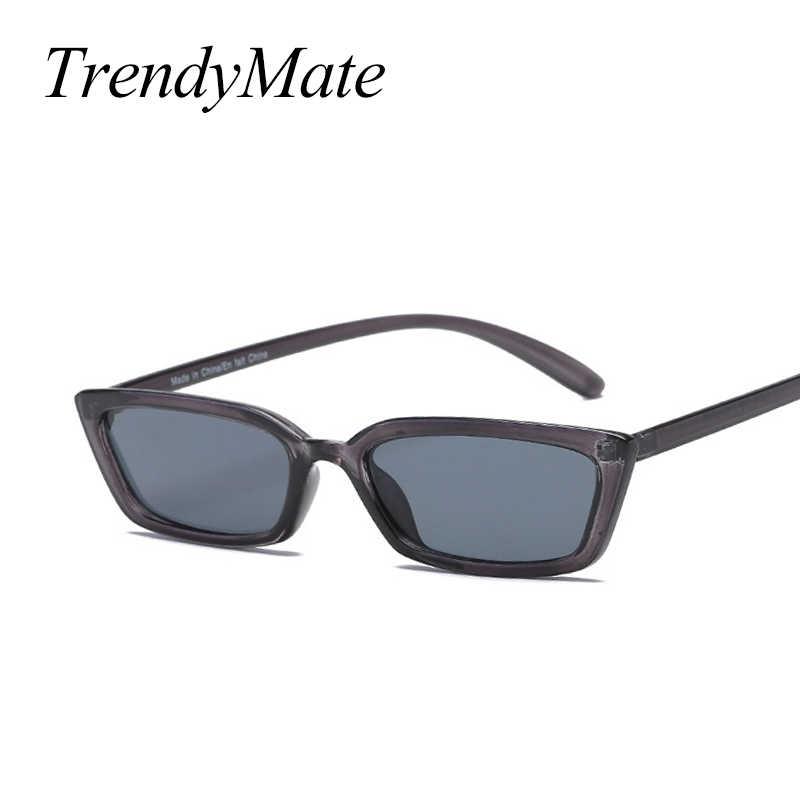 aeb0d916c102 TrendyMate 90S Sunglasses Women Vintage Fashion Small Rectangular Frame Black  Cat Eye Sun Glasses Retro Skinny