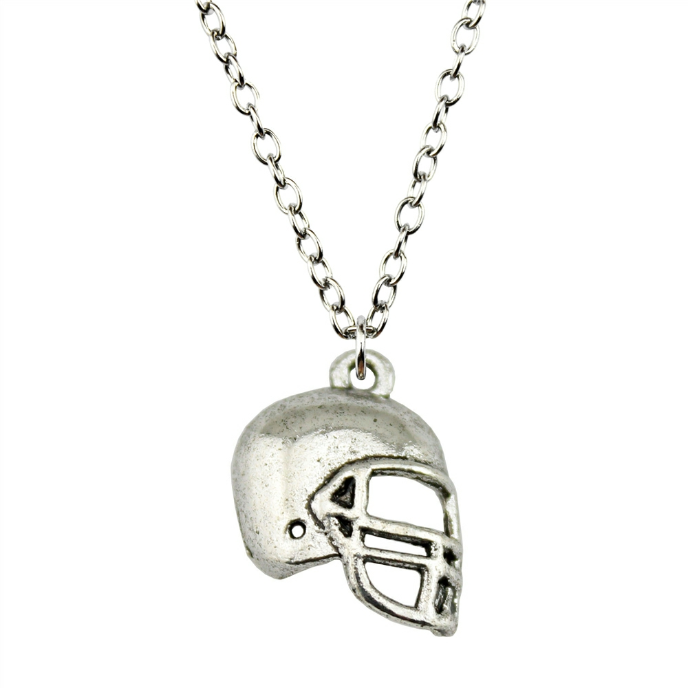 Wholesale Price 20*15mm (0.79*0.59 inches) Football Helmets Pendant Link Chain Necklace For Women Fashion Jewelry Necklace