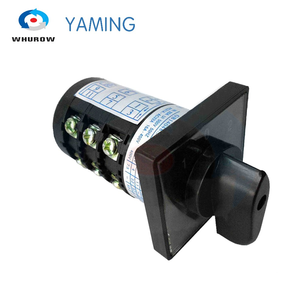 Yaming Electric Combination Switch HZ5B-20/3 Cam Rotary Universal Changeover Switch 380V 20A 3 Poles 3 Positon(1-0-2)