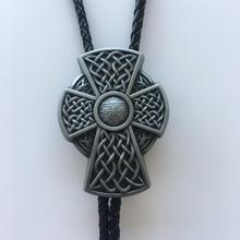 Vintage Iron Cross Bolo Tie Wedding Leather Necklace