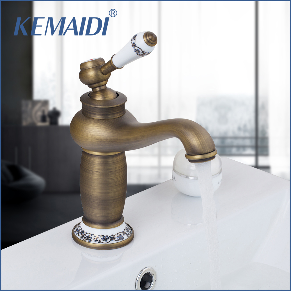 KEMAIDI RU Free Shipping Antique Bronze Bathroom Faucet Deck Mounted Hot And Cold Faucet Washbasin Mixer Sink Faucet Mixer TapKEMAIDI RU Free Shipping Antique Bronze Bathroom Faucet Deck Mounted Hot And Cold Faucet Washbasin Mixer Sink Faucet Mixer Tap