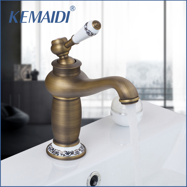 KEMAIDI RU Free Shipping Antique Bronze Bathroom Faucet Deck Mounted Hot  And Cold Faucet Washbasin Mixer