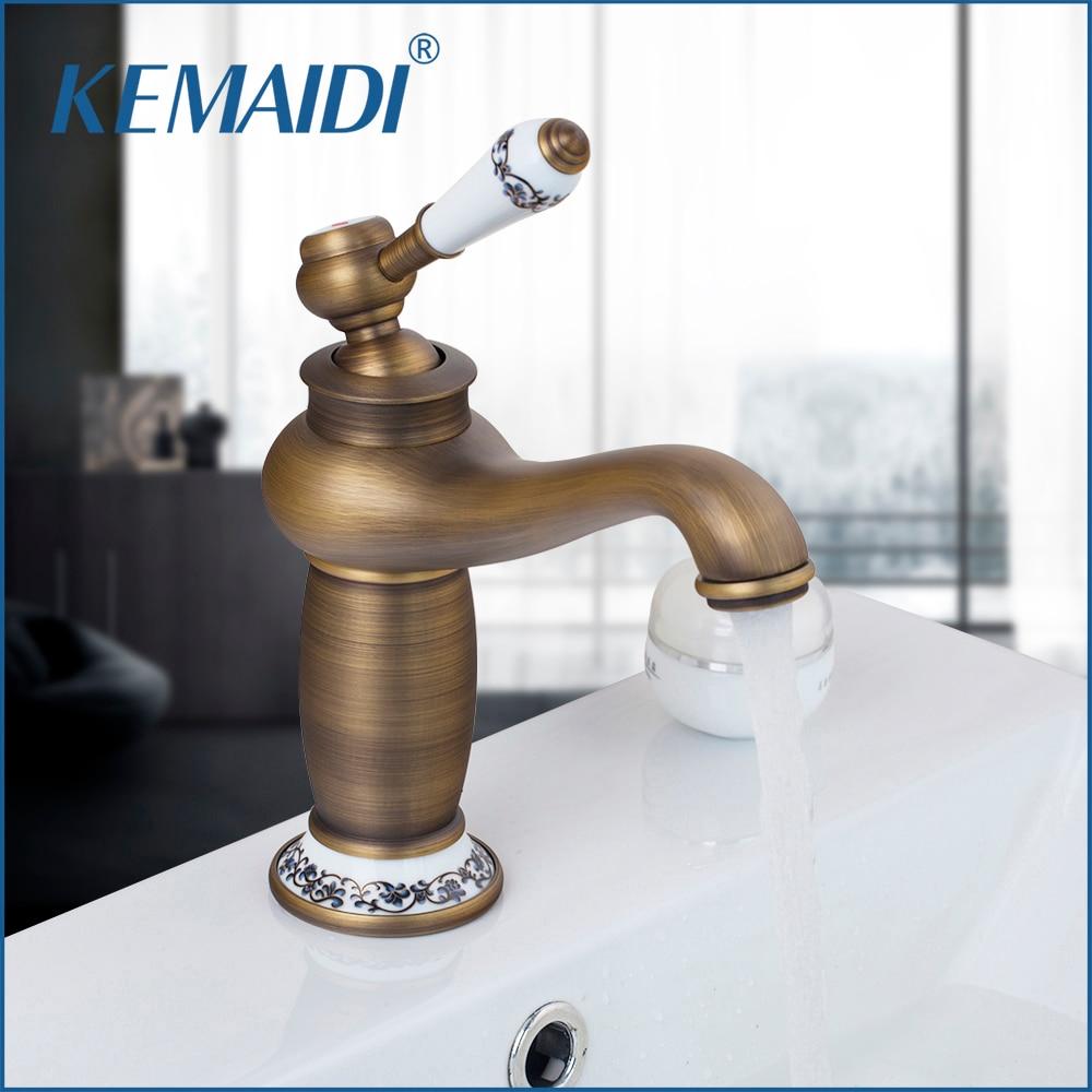 KEMAIDI RU Free Shipping Antique Bronze Bathroom Faucet Deck Mounted Hot And Cold Faucet Washbasin Mixer Sink Faucet Mixer Tap