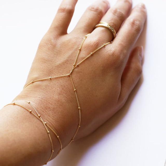 Boho Copper Beads Finger Link Bracelet Fashion Simple Handmade Slave Bracelets Lady S Summer Hand Jewelry