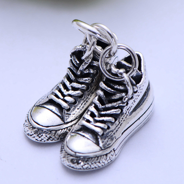 100% Real 925 Sterling Silver Classic Retro Canvas Shoes Necklace Pendant Men Thai Silver Fine Jewelry Gift CH055344