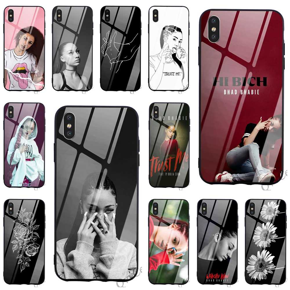 Ultra Thin Bhad Bhabie Tempered Glass Phone Cover For IPhone 7 Plus Case XR Xs Max X 8 6 6S 5S 5 SE Cases Skin