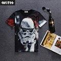 2016 Nuevas Llegadas Nuevos Hombres Mujeres 3d Camiseta Estrella guerras Deja Espacio A Cuadros de Carácter Extranjero Imprimir Camiseta Hombre CON YZ783