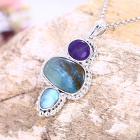 Customize Valentine's Day gift Natural Stone Purple Stone With Blue opal With Larimar combination Sweater Chain Pendant
