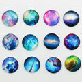 12X 20mm The starry sky pattern Round Handmade Photo Glass Cabochons & Glass Dome Cover Pendant Cameo Settings