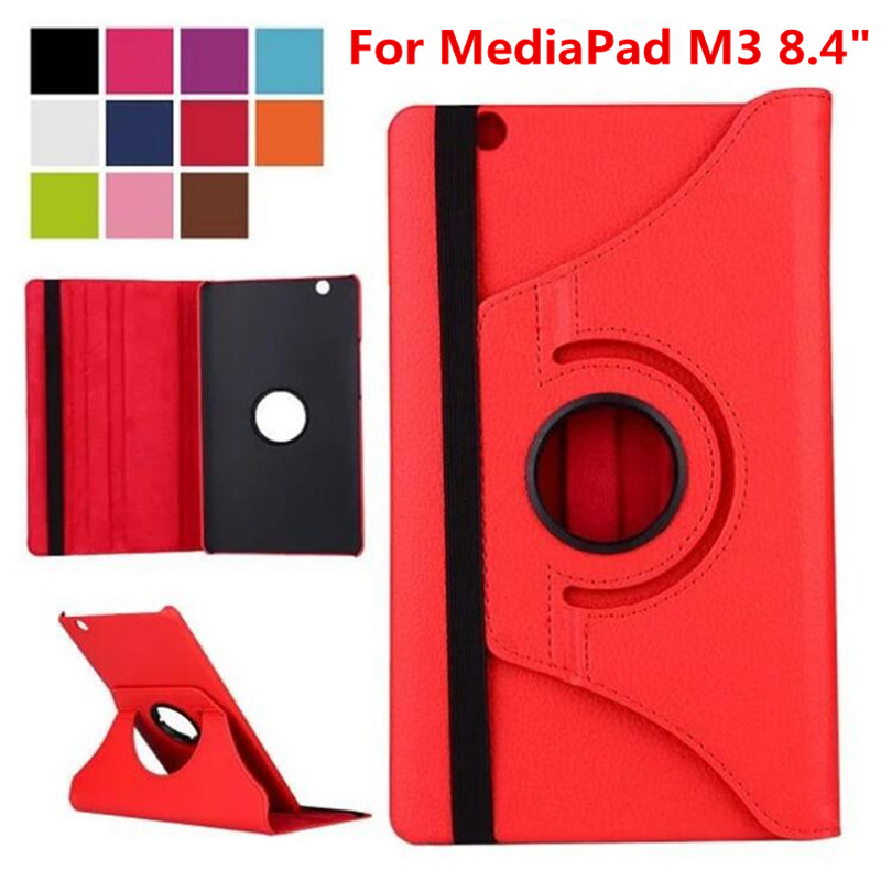 For Huawei MediaPad M3 8.4 inch BTV-W09 BTV-DL09 Tablet Case 360 Rotating Bracket Flip Stand Leather Cover image